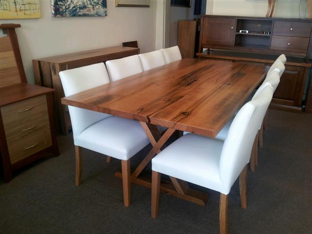 Portland Dining Table In Messmate Timber 43mm Top Large Choice Of Dimensions Timbers And Stain Colours