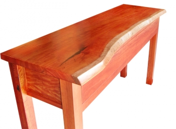 Red Gum Natural Edge Hall Table With Push Open Drawers